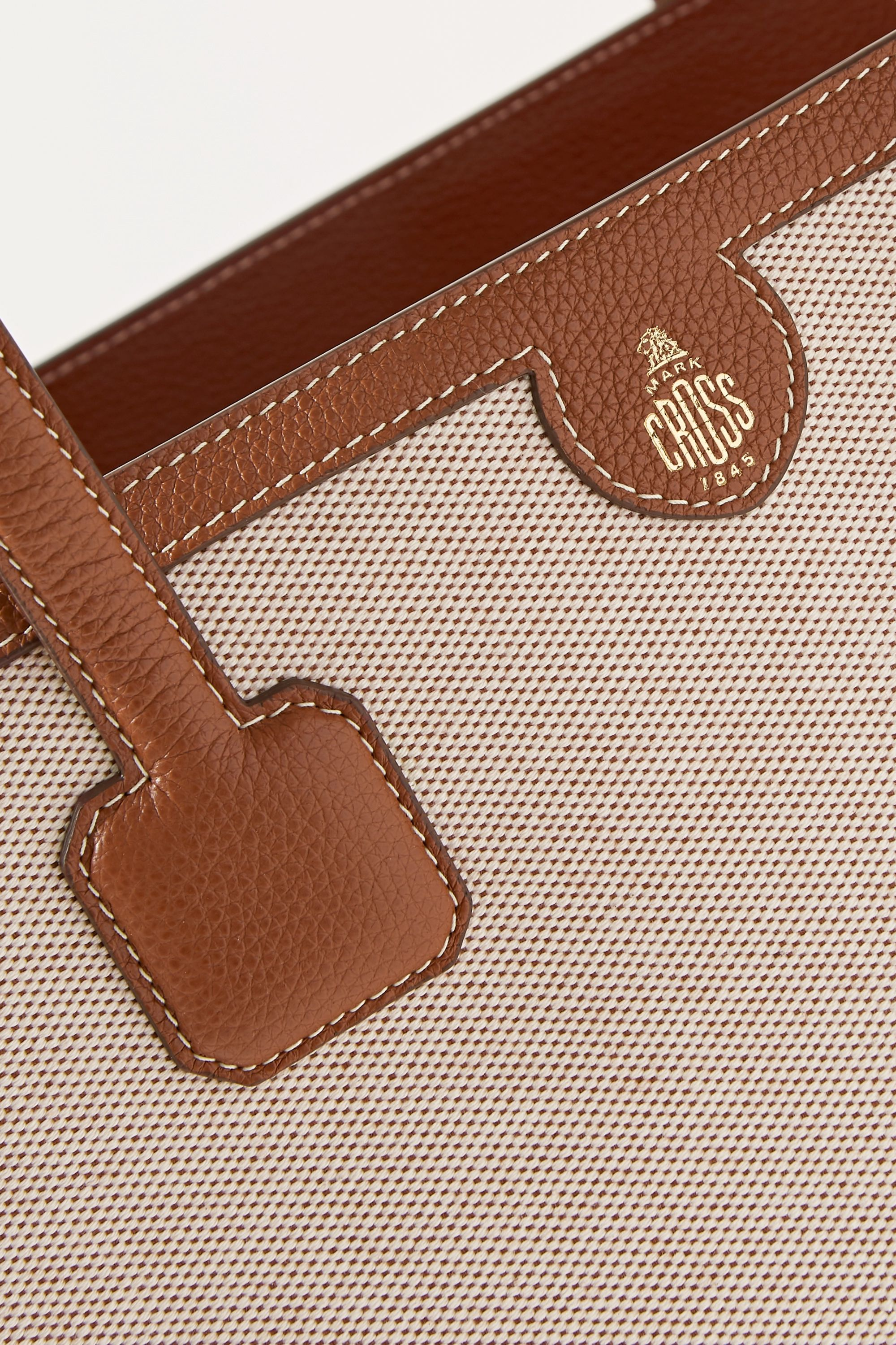 Beige Antibes Textured Leather-trimmed Canvas Tote | Mark Cross