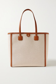 Mark Cross Antibes textured leather-trimmed canvas tote