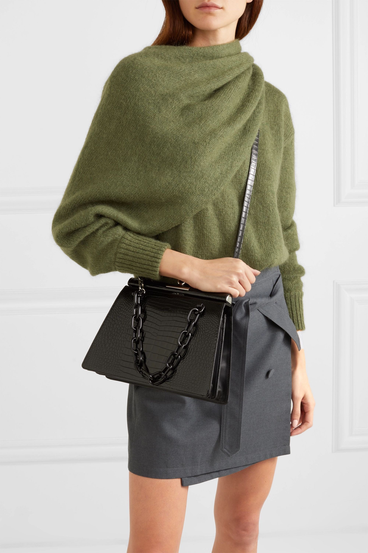 Gu_de Croc-effect leather shoulder bag