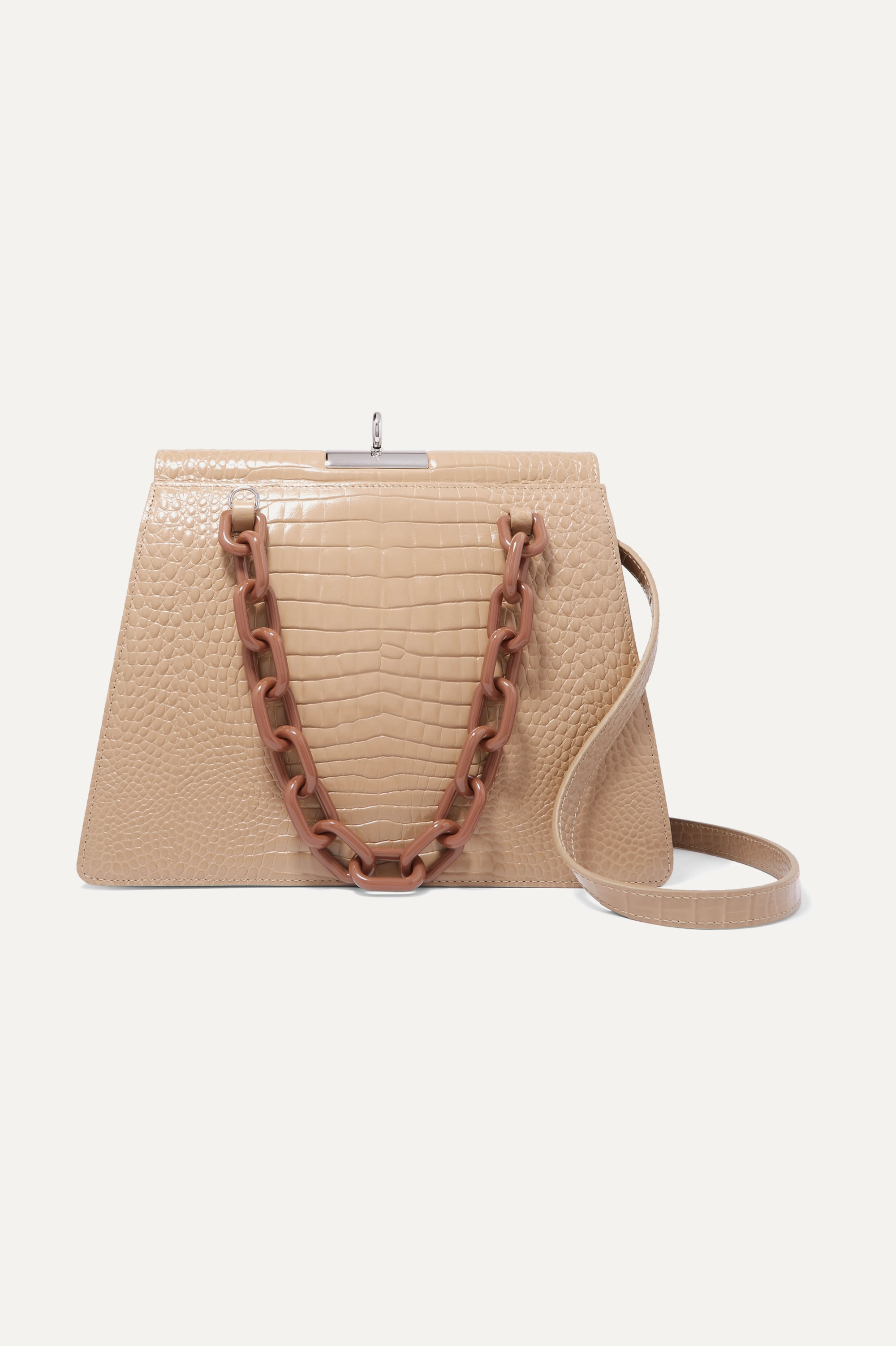 Gu_de Two-tone croc-effect leather shoulder bag