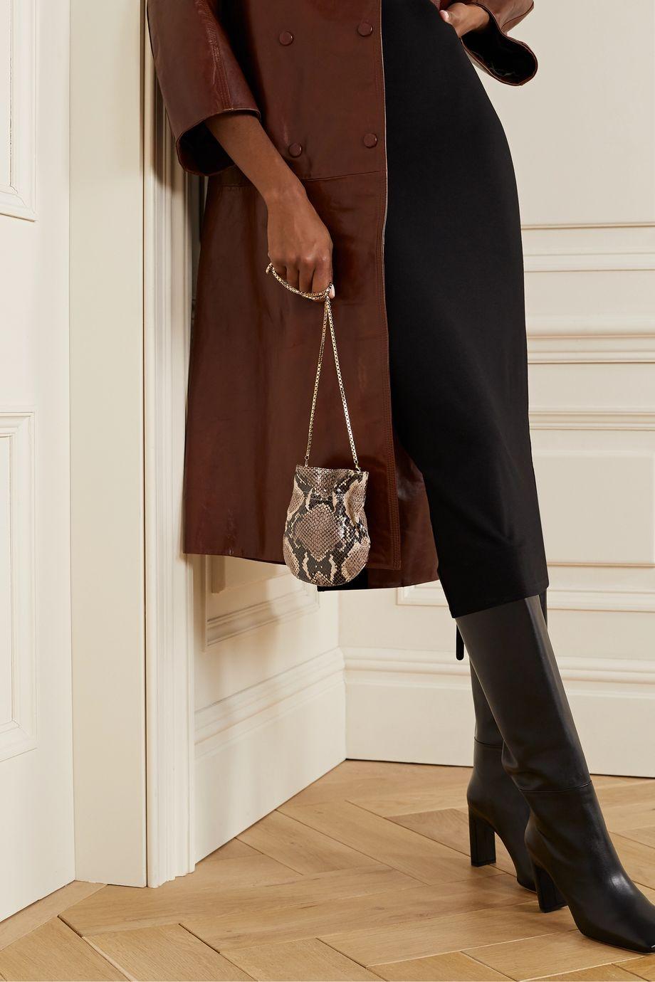 TL-180 Le Mini Fazzoletto snake-effect leather shoulder bag