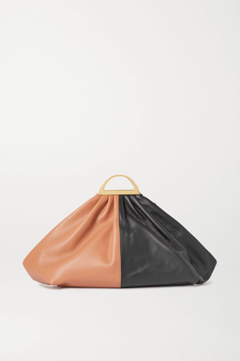 THE VOLON Gabi two-tone leather clutch