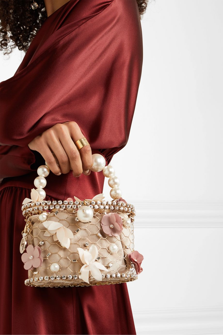 Rosantica Holli Fresia embellished gold-tone and velvet tote