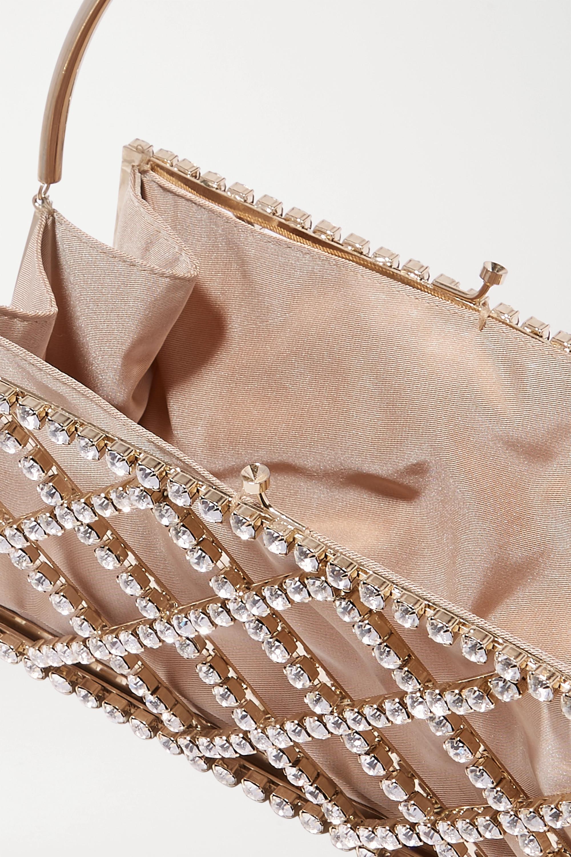 Rosantica Garofano crystal-embellished gold-tone and satin tote