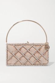 Rosantica Garofano crystal-embellished gold-tone and satin tote