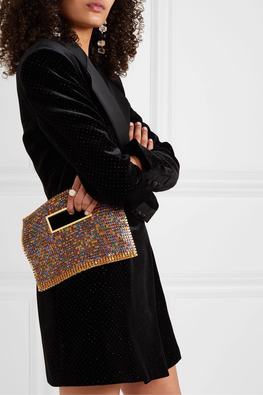 Rosantica Iside crystal-embellished chainmail tote
