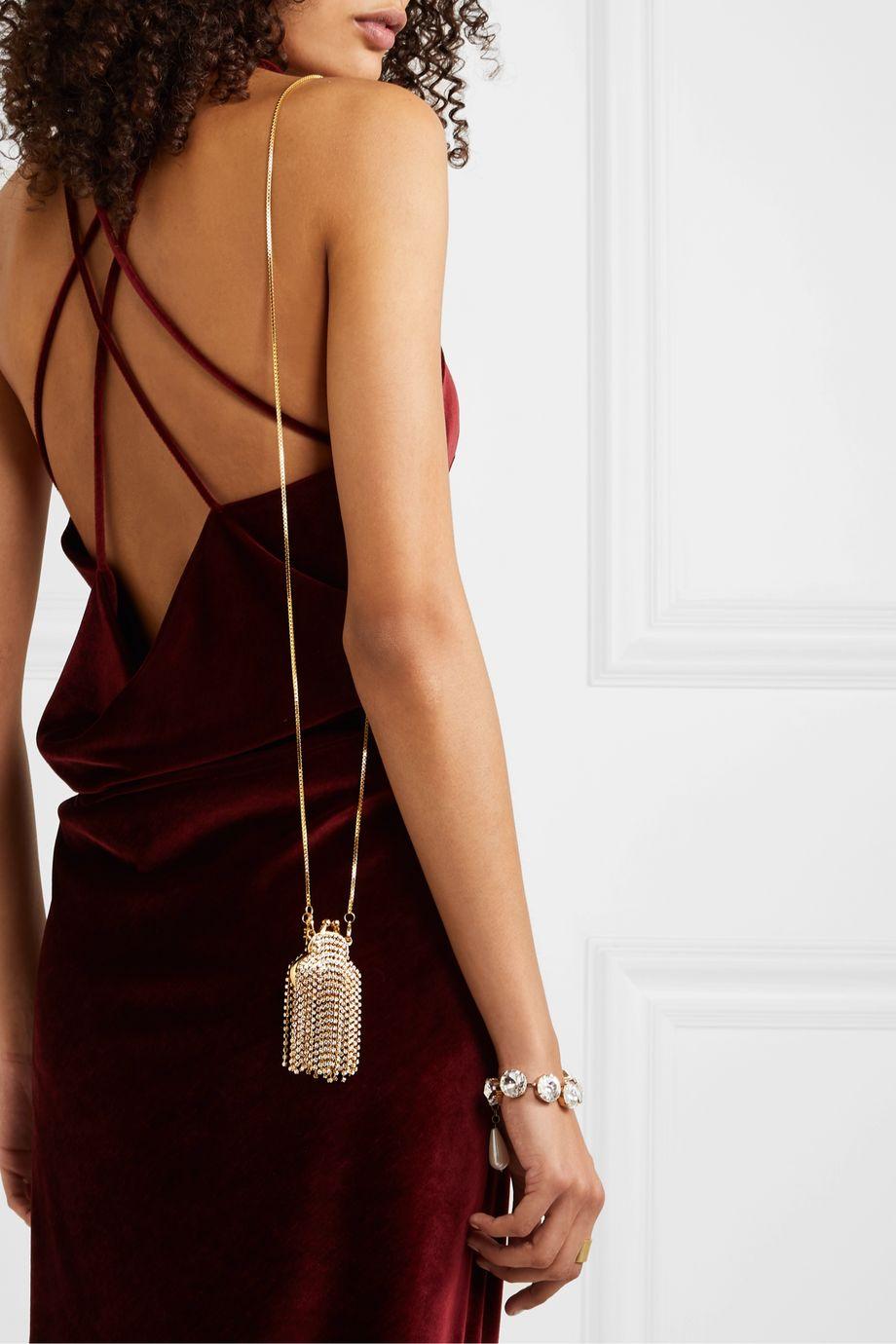 Rosantica Orfea mini fringed crystal-embellished gold-tone shoulder bag