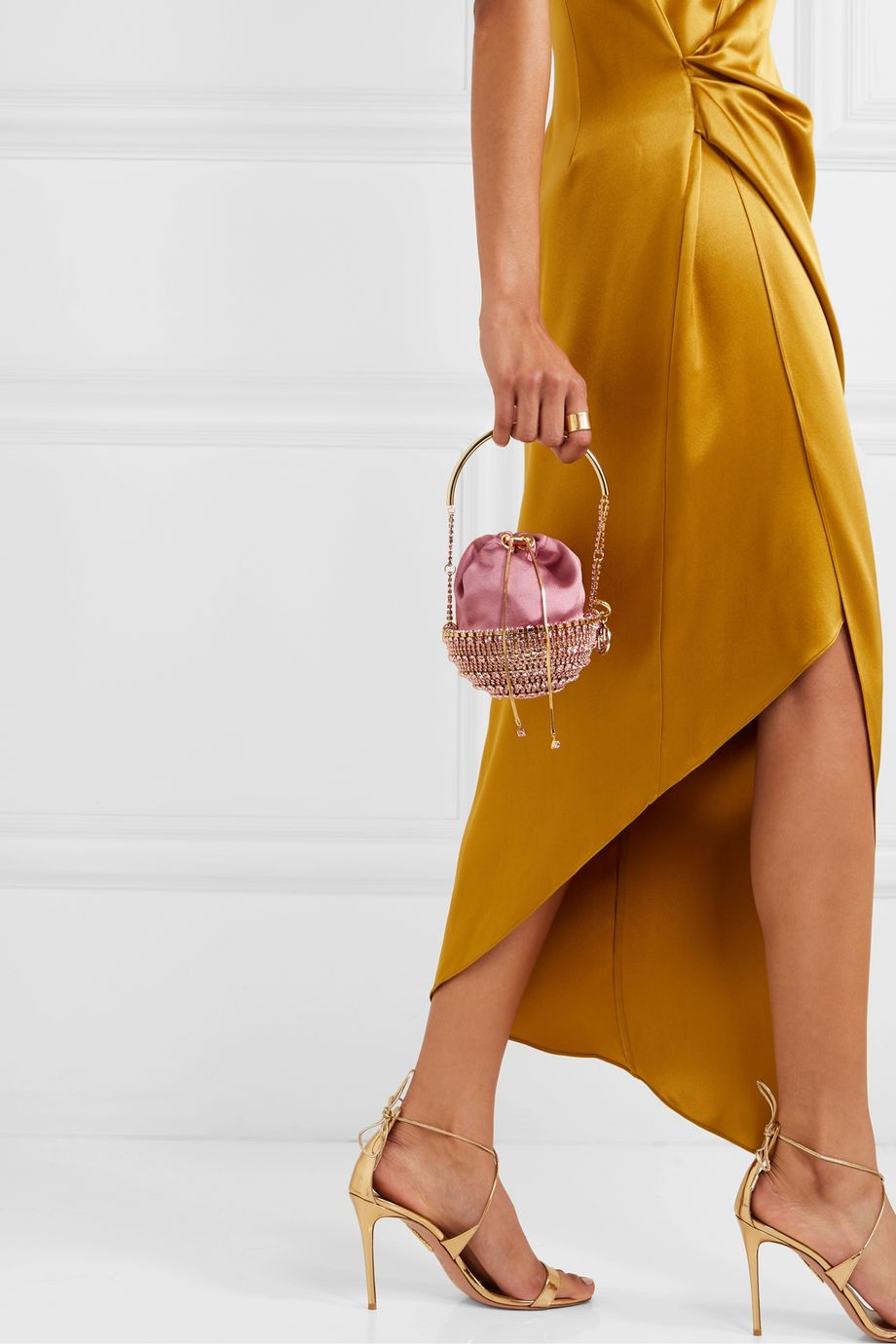 Rosantica Kingham small embellished satin bucket bag