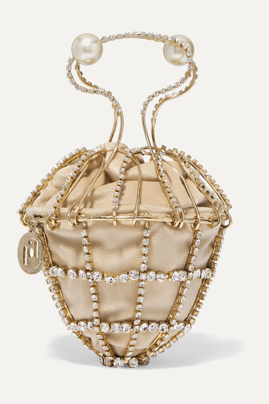 Rosantica Ginestra embellished gold-tone and velvet tote