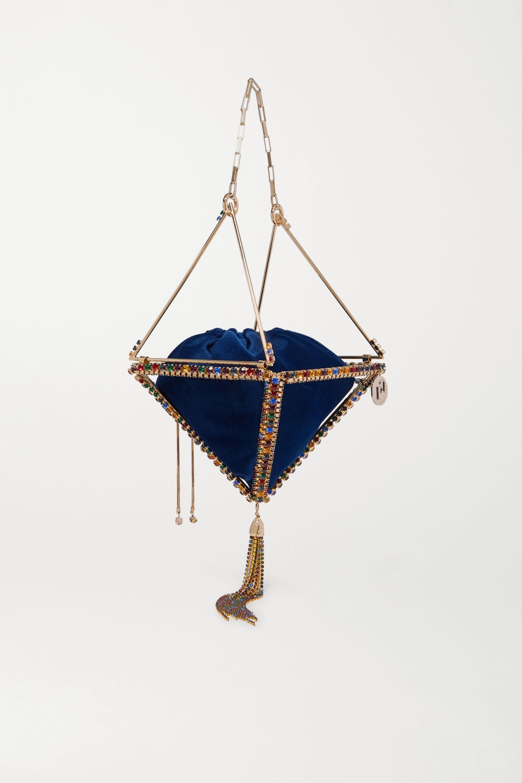 Rosantica Vernita tasseled crystal-embellished gold-tone and velvet tote