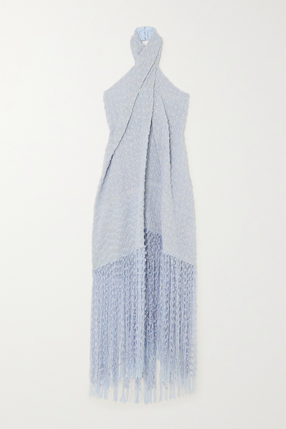 Jacquemus Cortese fringed appliquéd tweed halterneck maxi dress