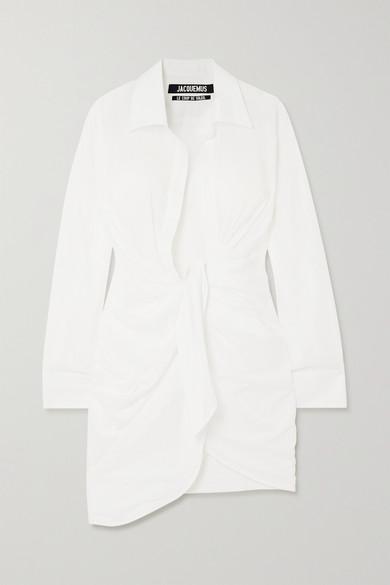 Jacquemus Bahia Gathered Cotton-poplin Mini Shirt Dress In White