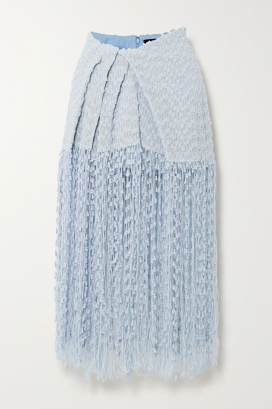 Jacquemus Capri fringed appliquéd tweed midi skirt