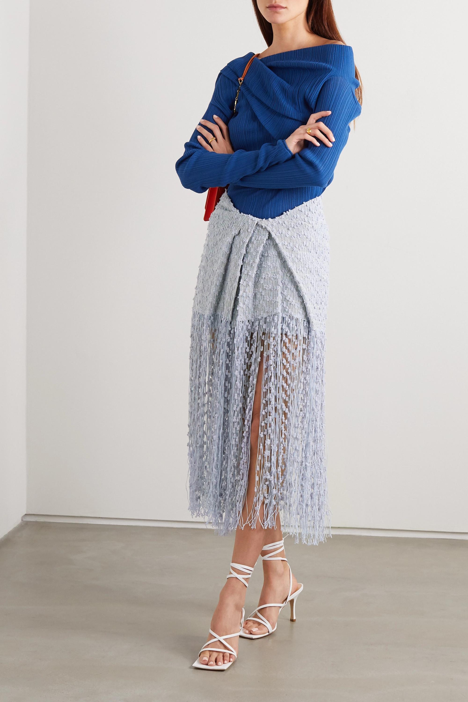 Jacquemus Capri fringed appliquéd tweed midi skirt
