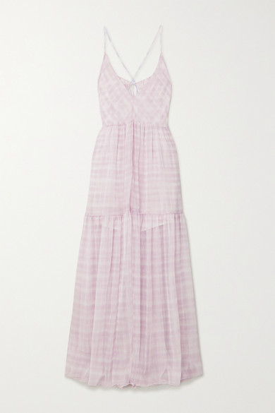 Jacquemus La Robe Mistral Checked Georgette Maxi Dress In Lilac