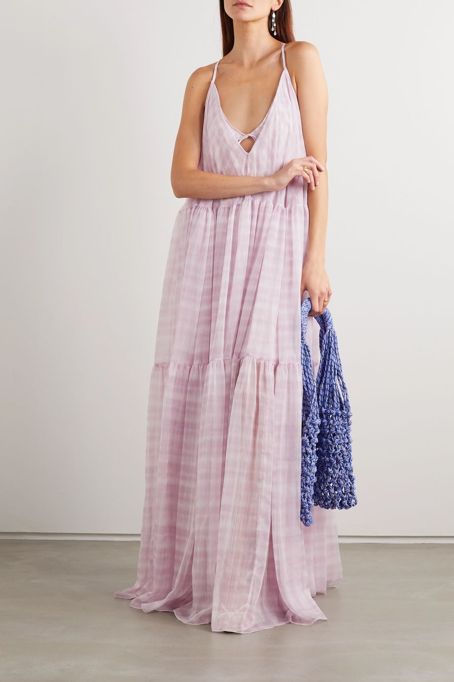 Jacquemus Mistral cutout checked chiffon maxi dress