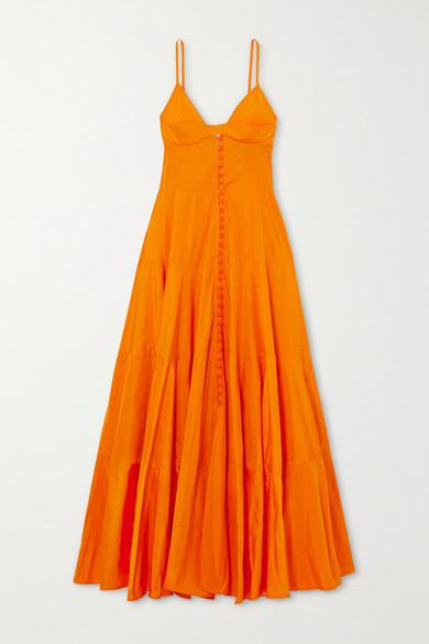 Jacquemus Manosque Tiered Taffeta Maxi Dress In Orange