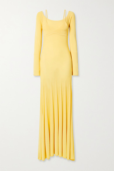 Jacquemus Off-the-shoulder Knit Midi Dress W/ Bra In Pastel Yellow