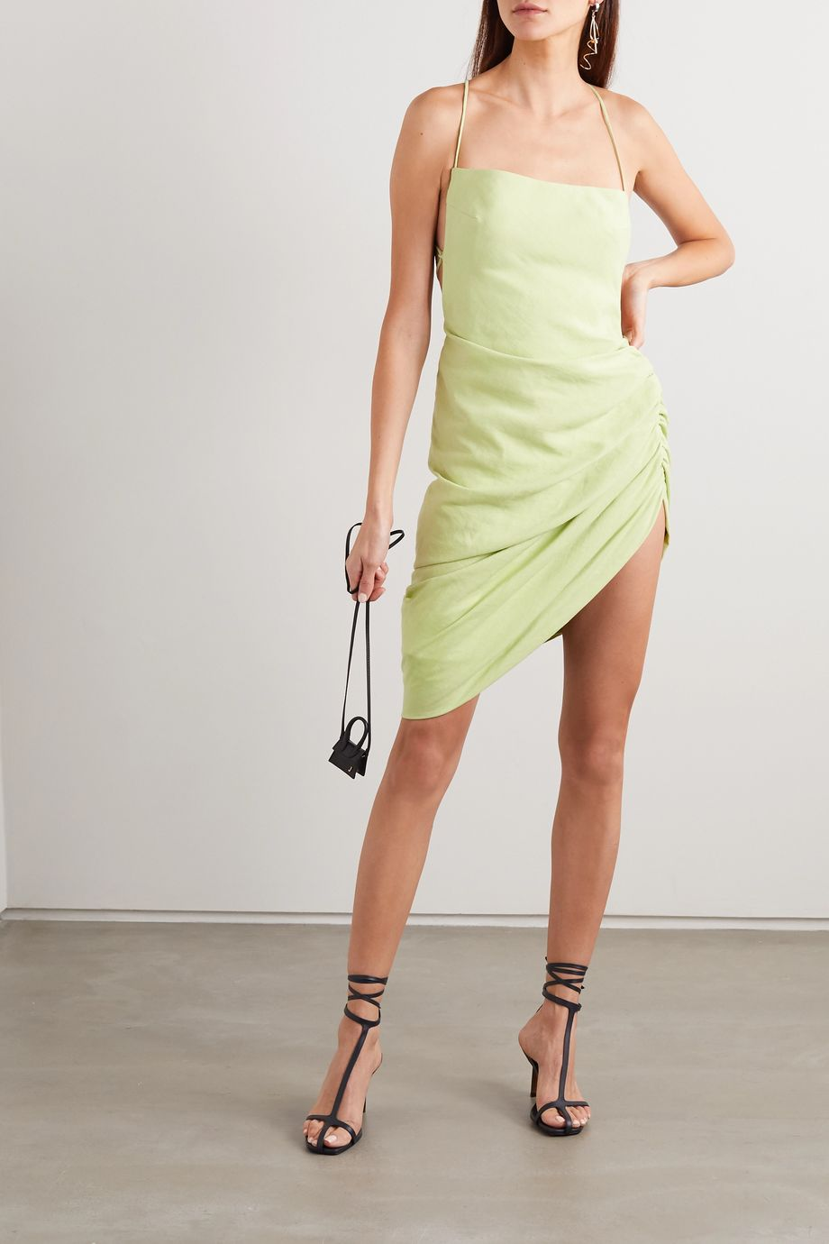 Jacquemus La Robe Saudade gathered canvas mini dress