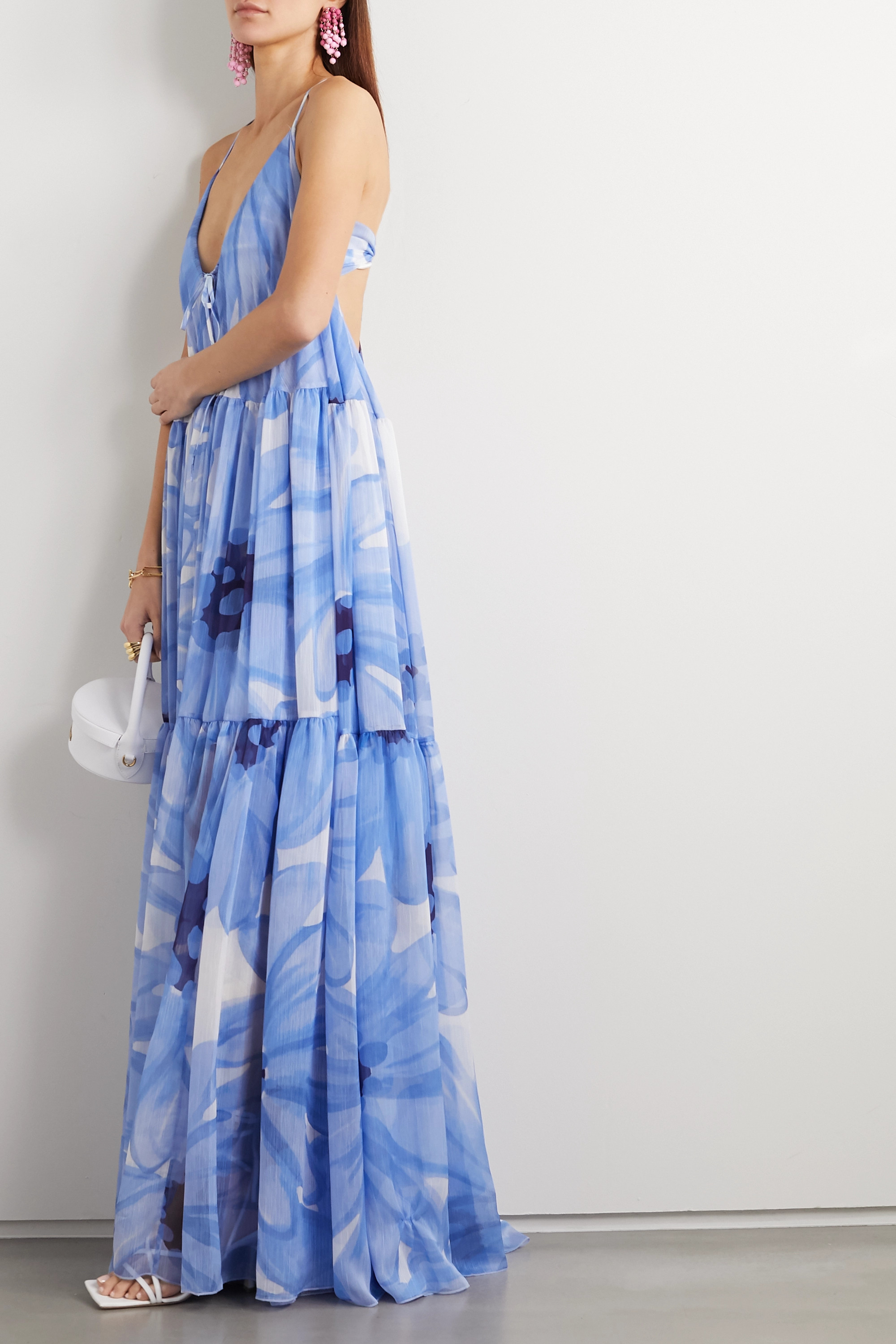 Jacquemus Mistral tiered floral-print georgette maxi dress