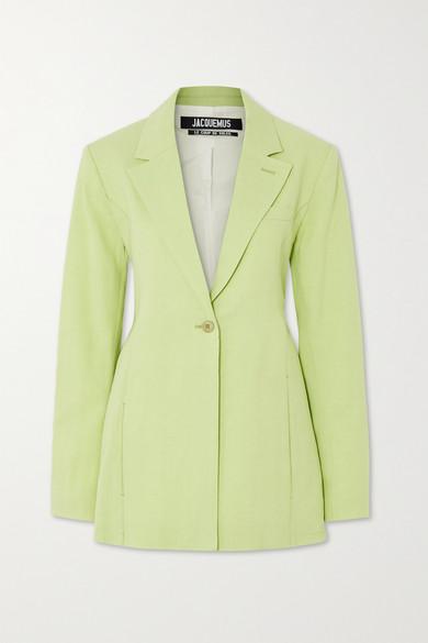 Jacquemus La Veste Tablier Belted Wool-blend Blazer In Light Green