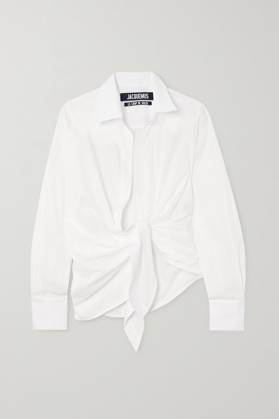 Jacquemus Bahia tie-front striped cotton-jacquard shirt