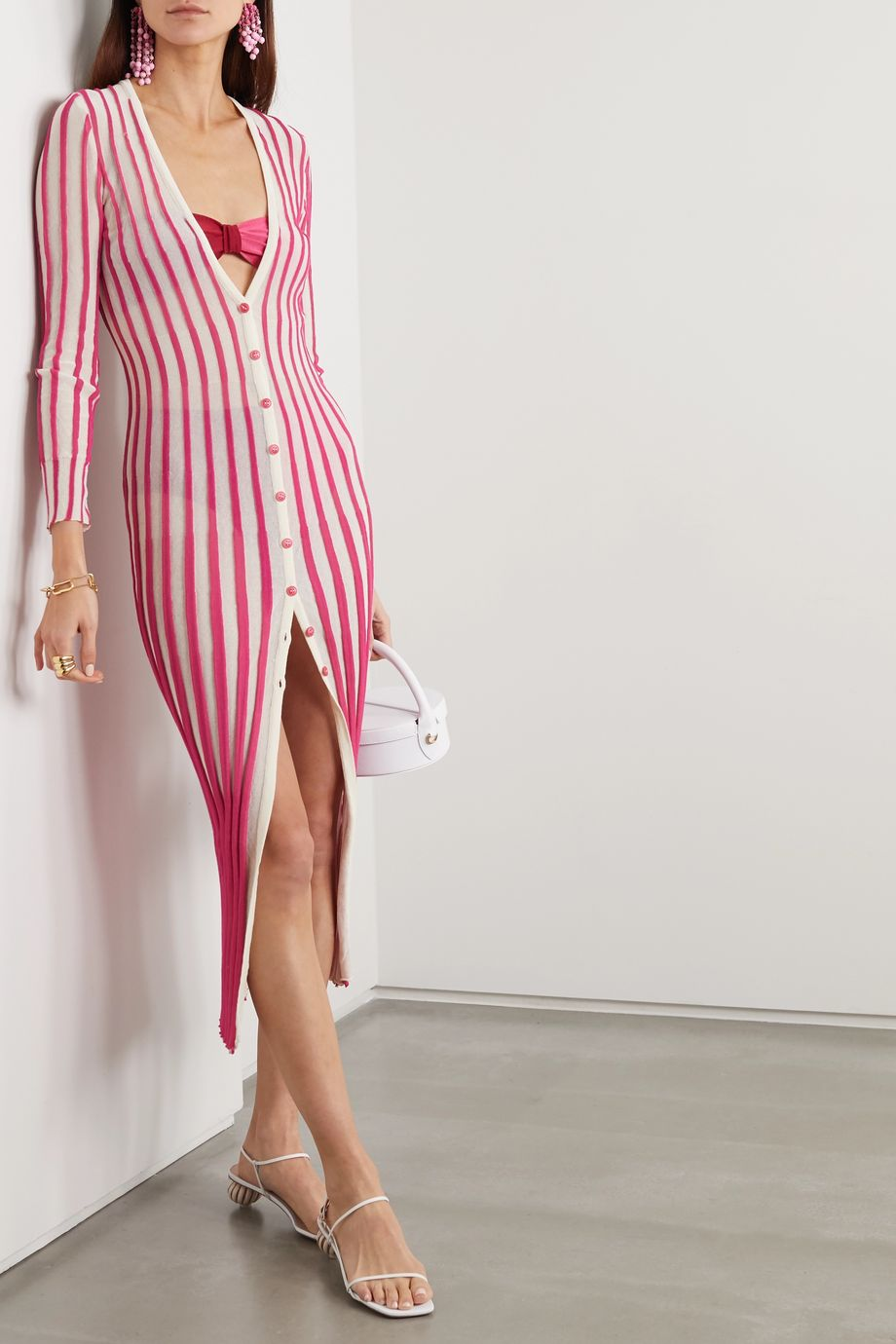 Jacquemus Jacques striped cotton-blend midi dress