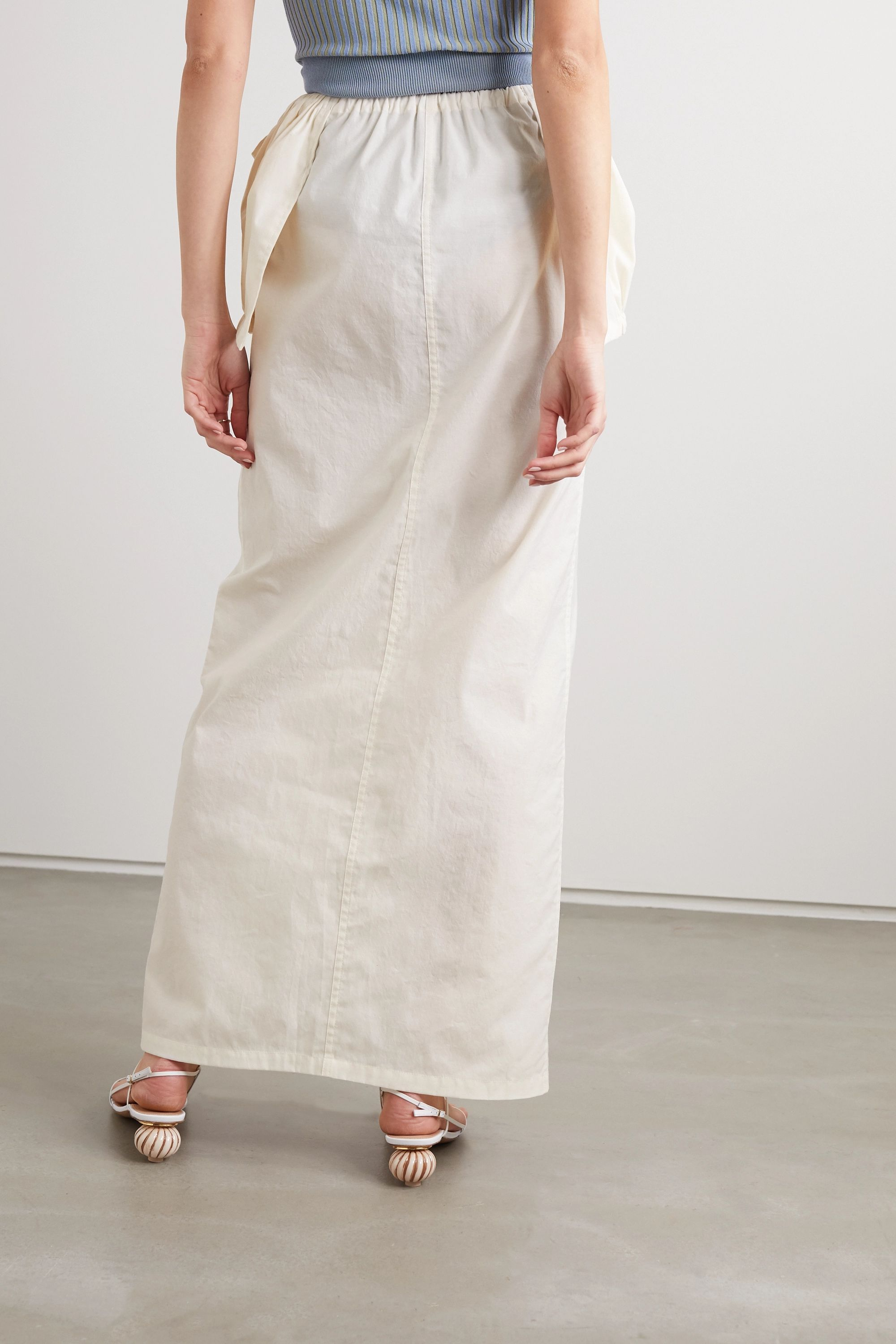 Jacquemus Cueillette layered gathered poplin maxi skirt