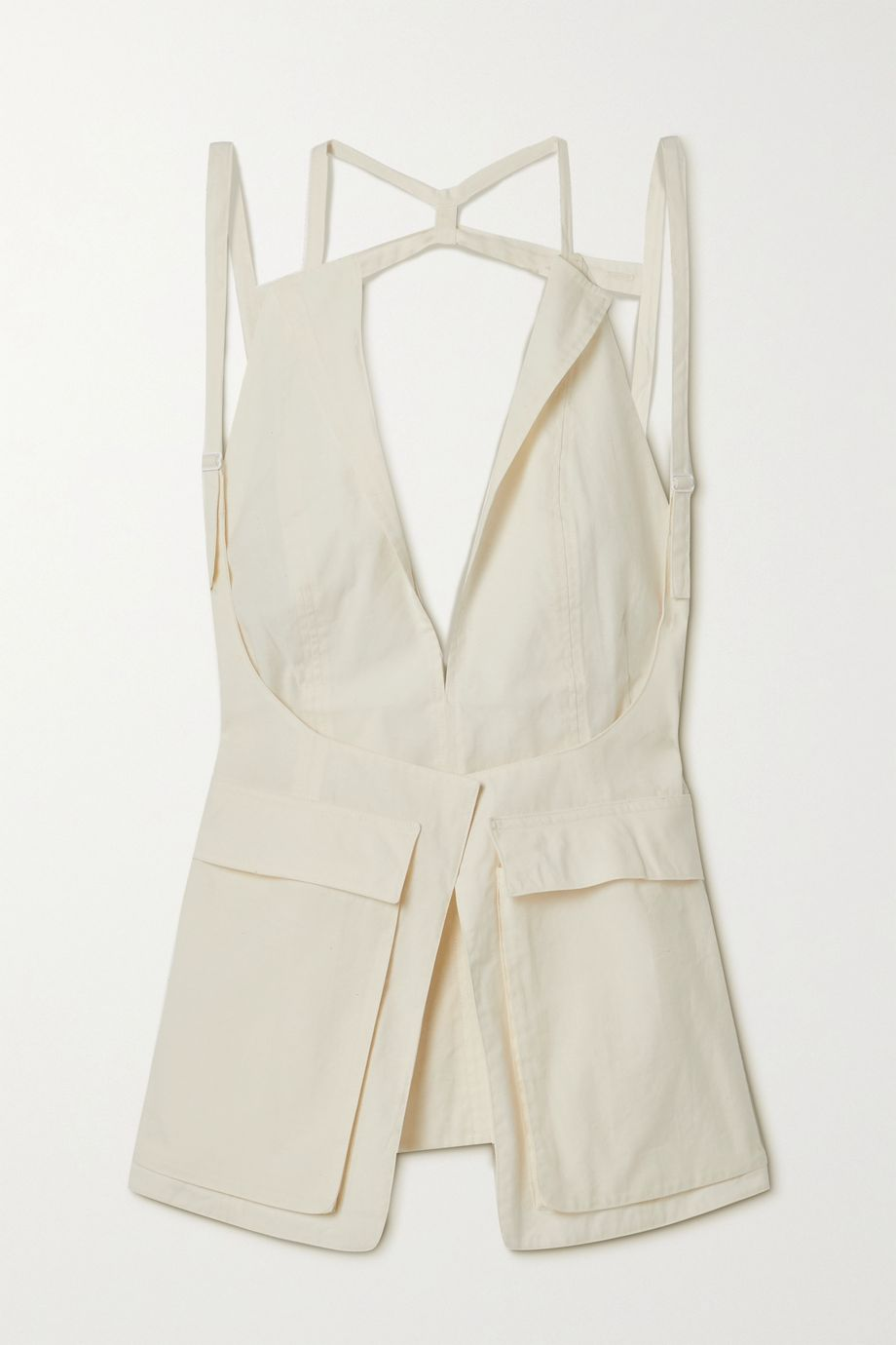 Jacquemus Ascea layered open-back poplin top