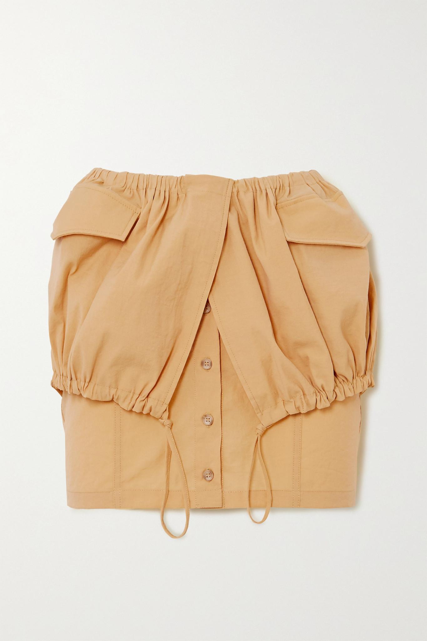 Cueillette Courte layered gathered poplin mini skirt by JACQUEMUS, available on net-a-porter.com for $172.5 Kourtney Kardashian Skirt Exact Product