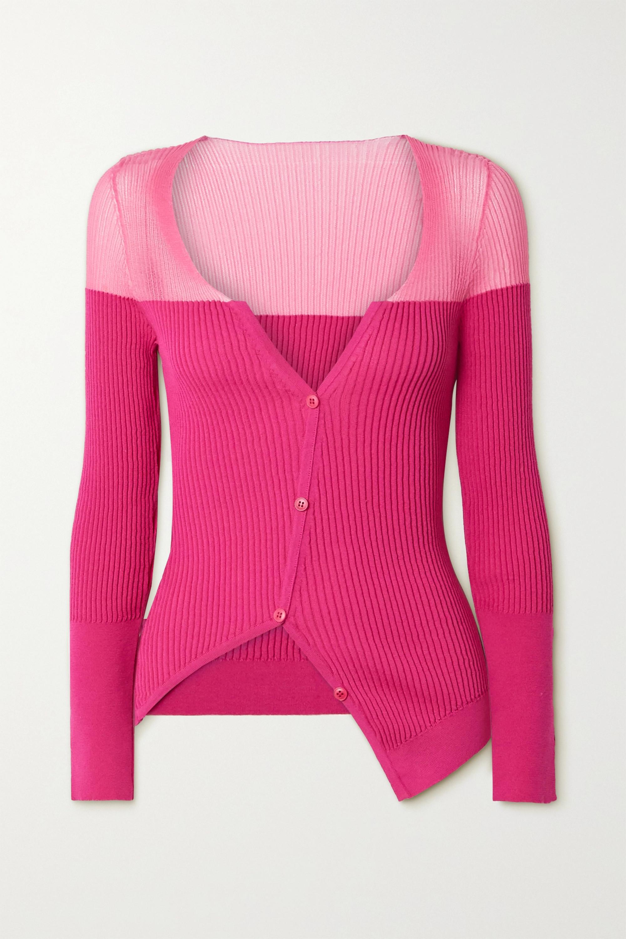 Jacquemus Tordu asymmetric two-tone ribbed cotton-blend cardigan