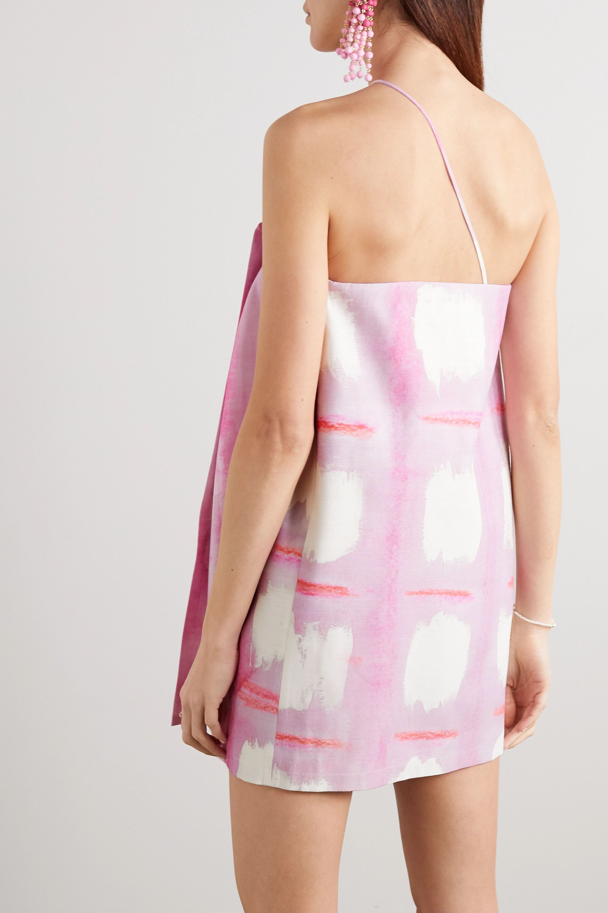 Jacquemus Asymmetric printed wrap-effect woven mini dress