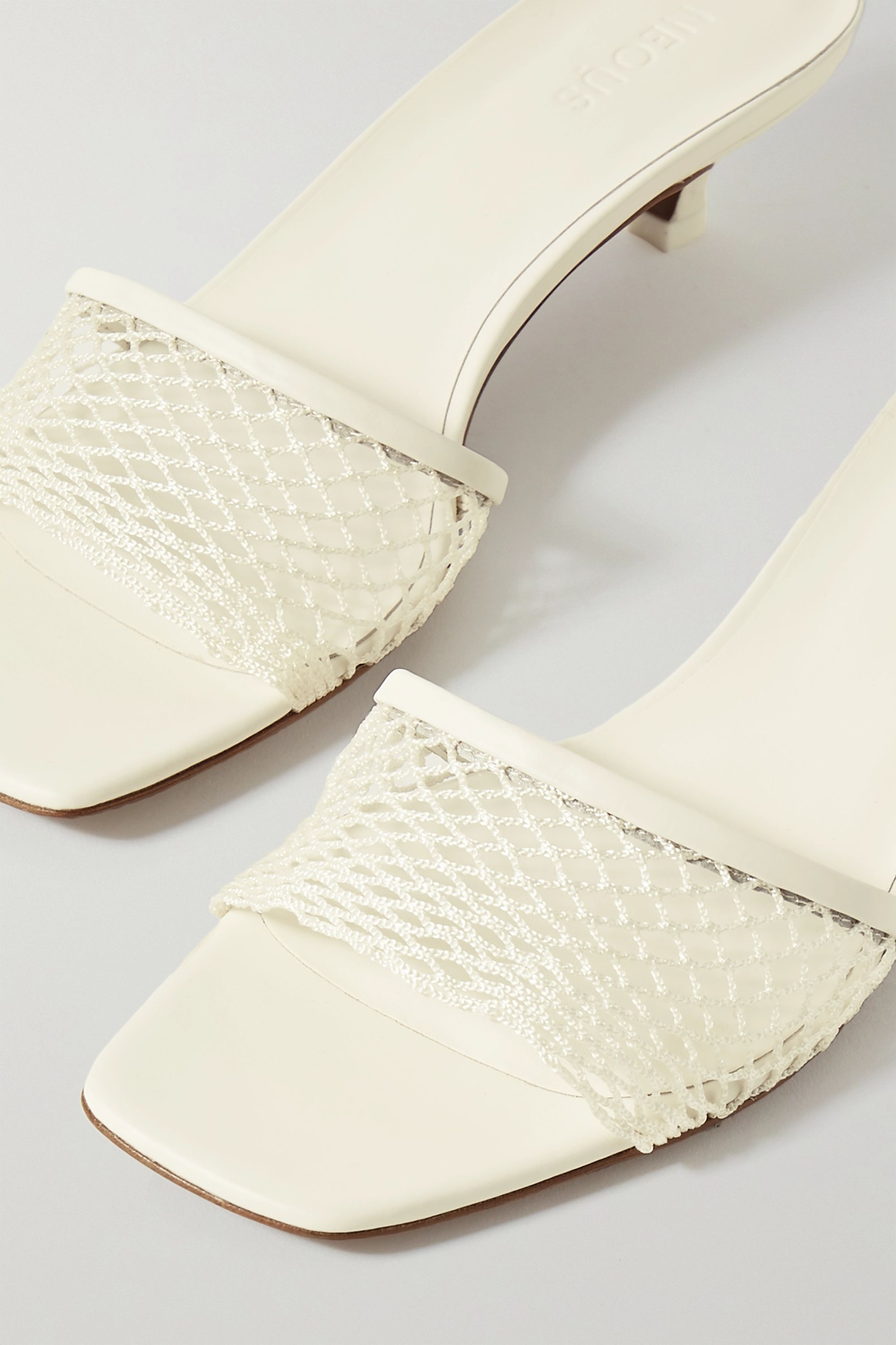 Neous Mormodes leather-trimmed fishnet mules