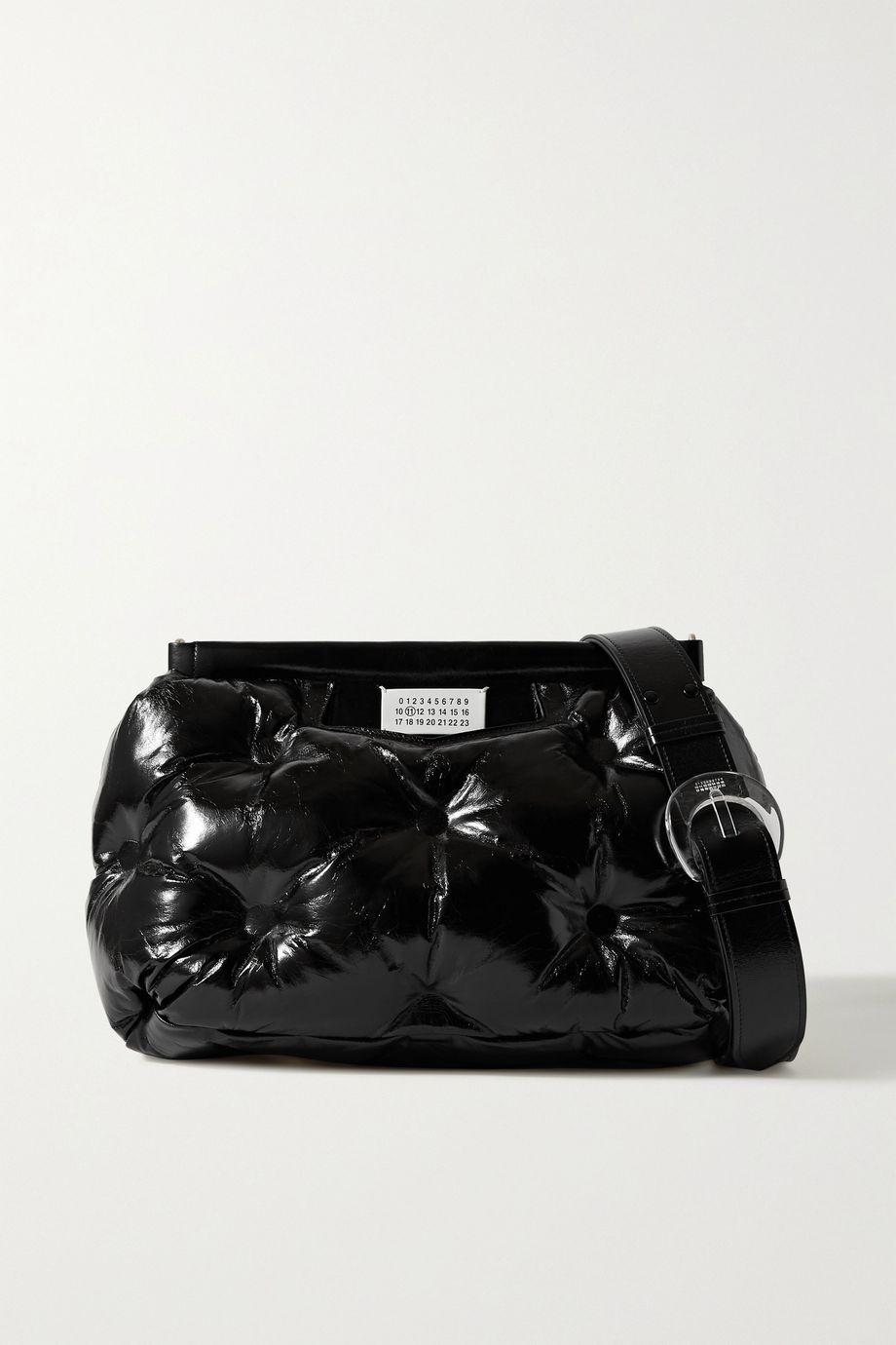 Maison Margiela Pillow 绗缝褶皱亮面皮革单肩包