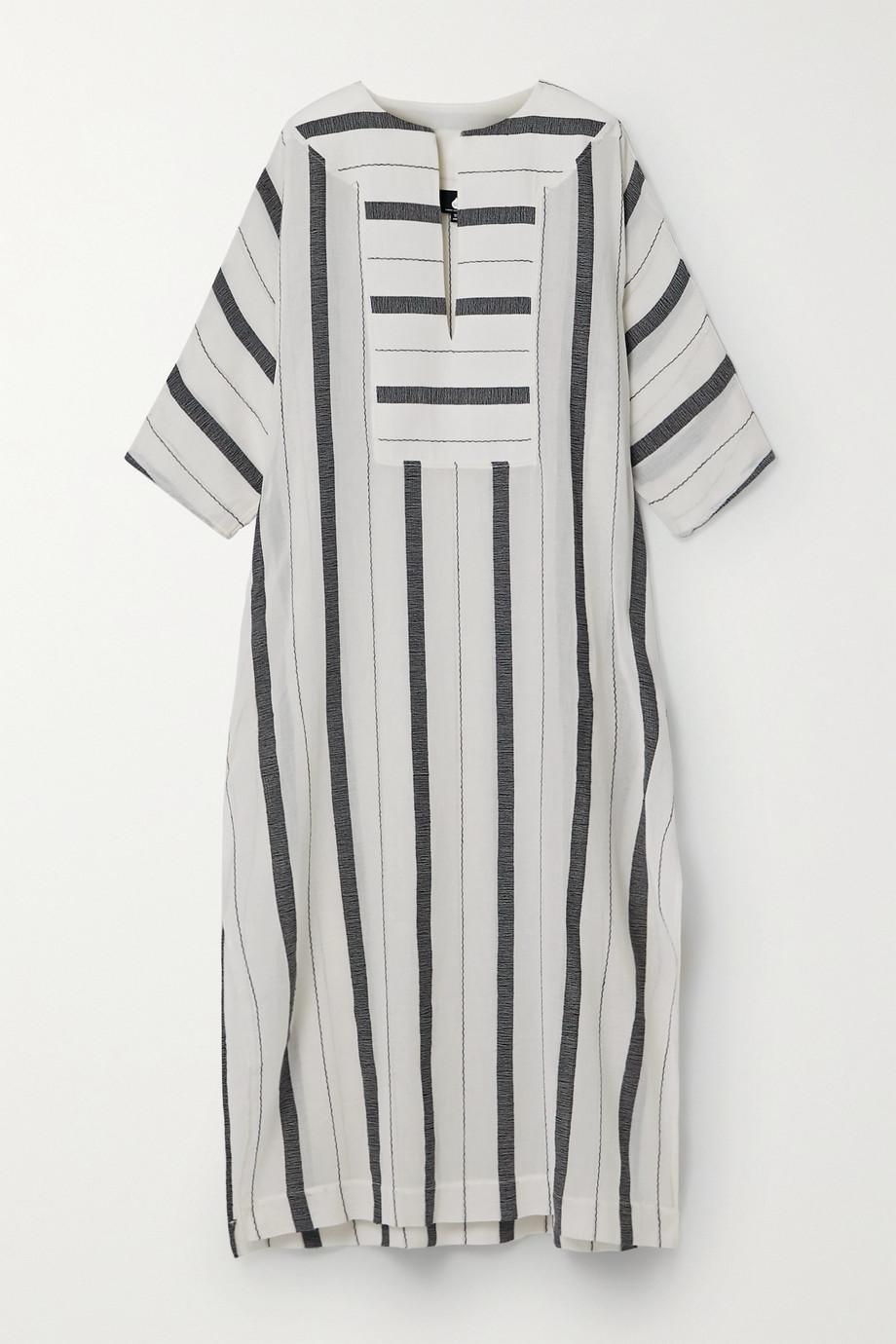 SU Paris Gaya 条纹纯棉薄纱长罩衫裙