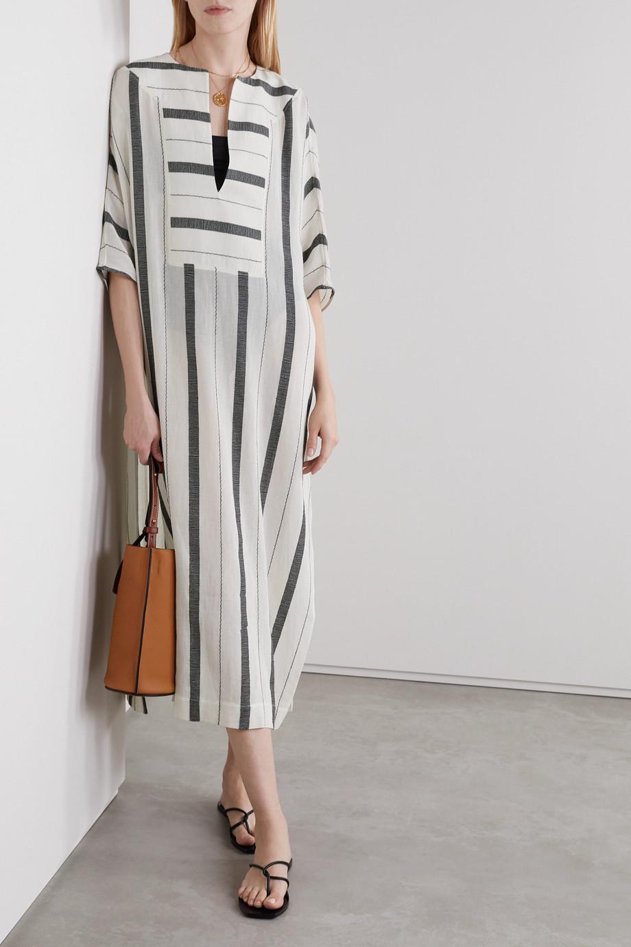 SU Paris Gaya striped cotton-gauze kaftan