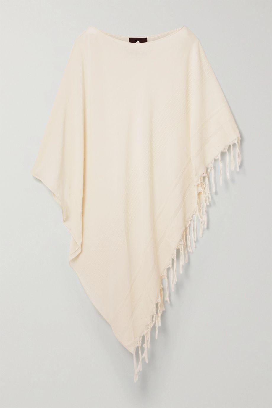 SU Paris Syakati fringed cotton and Tencel-blend kaftan