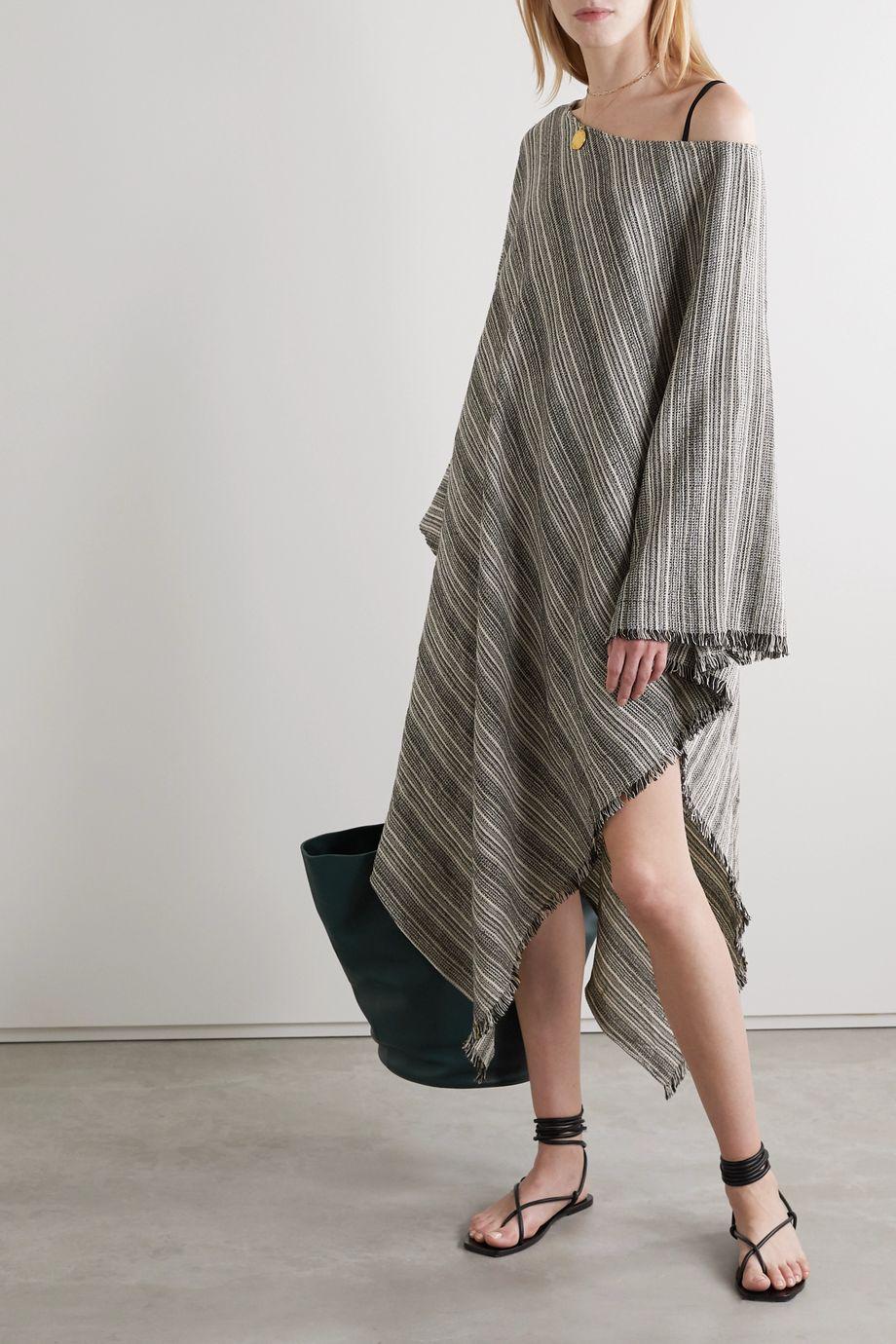 SU Paris Fringed striped cotton-gauze kaftan