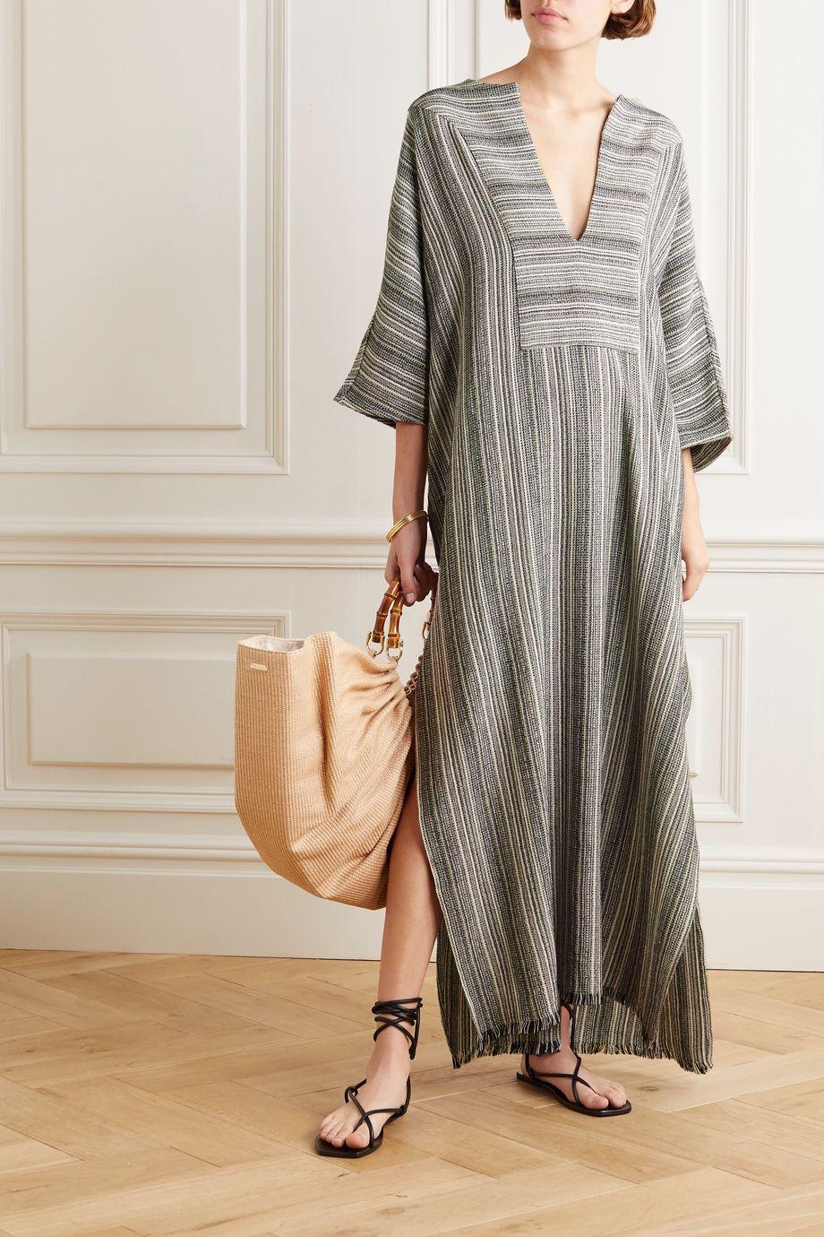 SU Paris Lia striped cotton-gauze kaftan