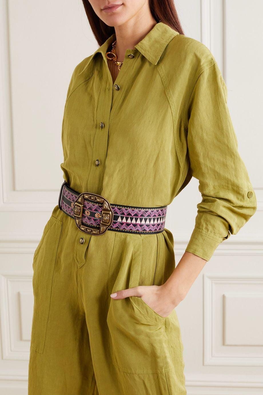 Etro Printed leather waist belt