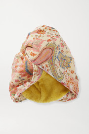 Paisley-print cotton and silk-blend turban