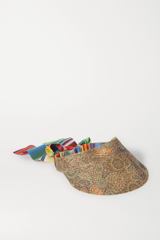Etro Printed silk-trimmed paper visor