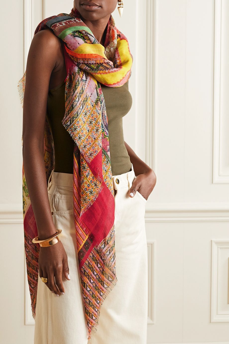 Etro Patchwork cashmere and silk-blend scarf