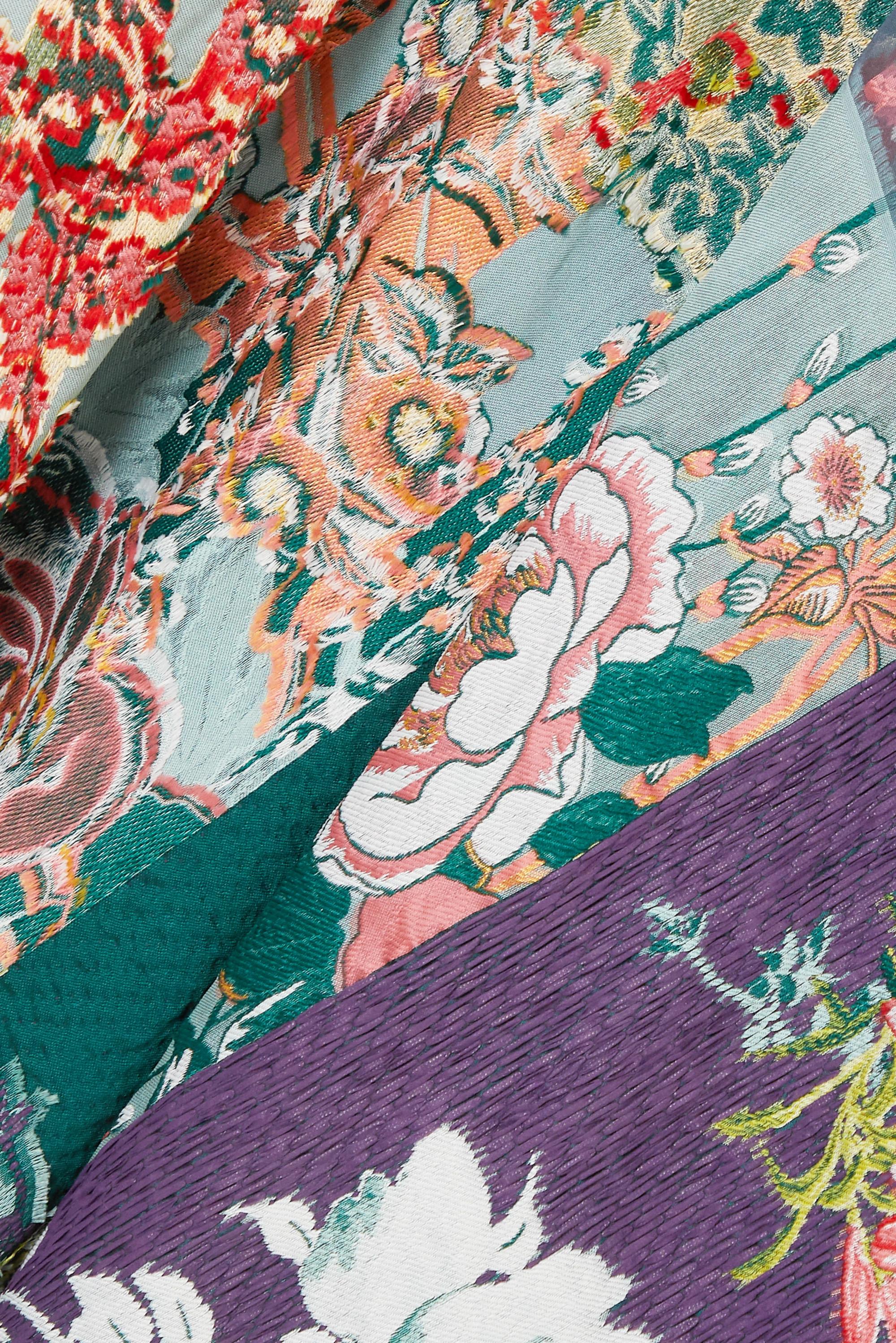 Etro Fringed embroidered patchwork jacquard wrap