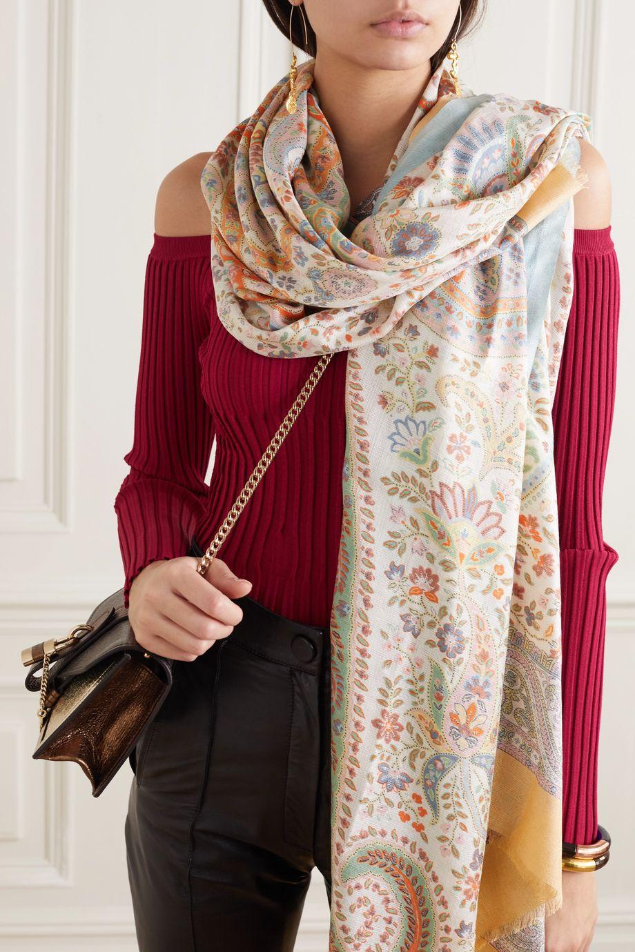Etro Fringed paisley-print silk scarf