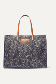 Globetrotter leather-trimmed jacquard tote