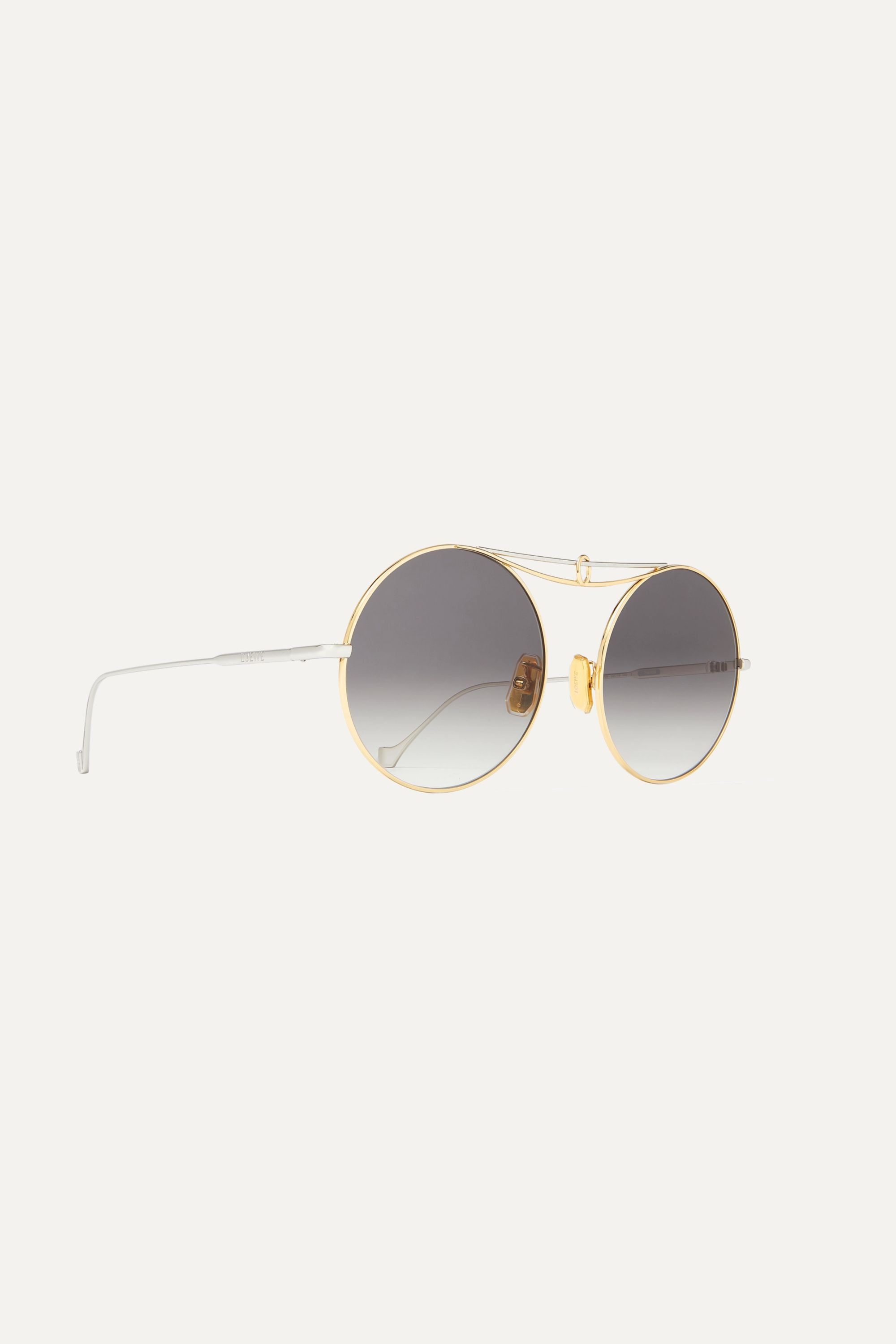 Loewe Round-frame silver and gold-tone sunglasses