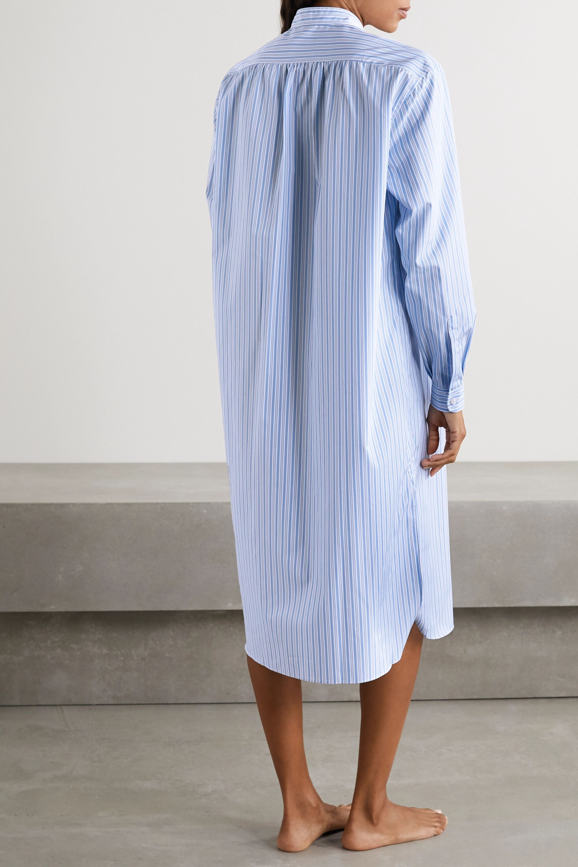 Charvet Striped cotton-poplin nightdress