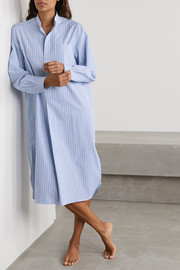 Charvet Striped cotton-poplin nightdress