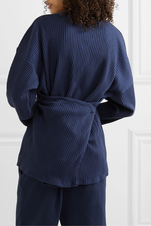 Baserange + NET SUSTAIN Shaw oversized wrap-effect ribbed organic cotton-fleece top
